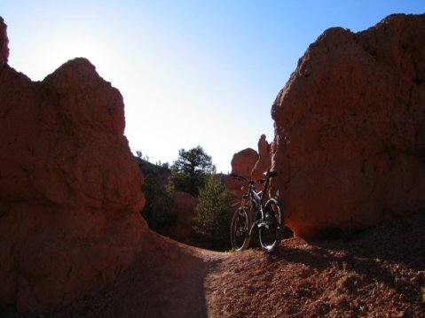 This is the trail... Riding between rocks instead of trees...