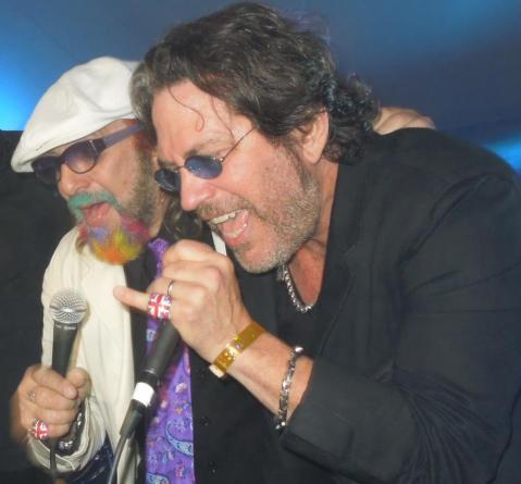 Mark Hudson & Kip Winger on Stage at the Playboy Mansion